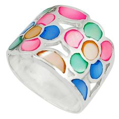 Multi color blister pearl enamel 925 sterling silver ring size 7 c12989