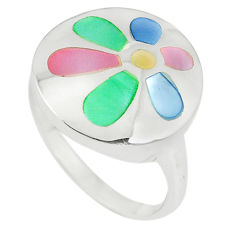 Multi color blister pearl enamel 925 sterling silver ring size 8 a67615 c13052