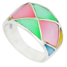 Multi color blister pearl enamel 925 sterling silver ring size 8 a67710 c13027
