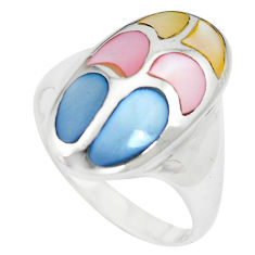 5.89gms multi color blister pearl enamel 925 sterling silver ring size 8 c12869