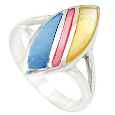 Multi color blister pearl enamel 925 sterling silver ring size 8 c12907