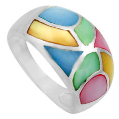 4.87gms multi color blister pearl enamel 925 sterling silver ring size 8 c26282