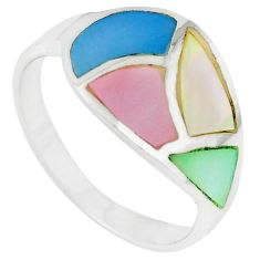 Multi color blister pearl enamel 925 sterling silver ring size 9 a66627 c13339