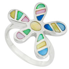 Multi color blister pearl enamel 925 sterling silver ring size 9 a67652 c13051