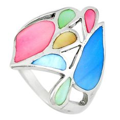 Multi color blister pearl enamel 925 sterling silver ring size 9 a67686 c13599