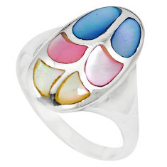 5.69gms multi color blister pearl enamel 925 sterling silver ring size 9 c12866