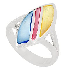 Multi color blister pearl enamel 925 sterling silver ring size 9 c12911