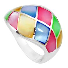 5.02gms multi color blister pearl enamel 925 sterling silver ring size 9 c12983