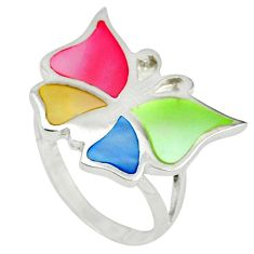 Multi color blister pearl enamel silver butterfly ring size 5.5 a39943 c13425