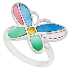 Multi color blister pearl enamel silver butterfly ring size 7.5 a49411 c13437