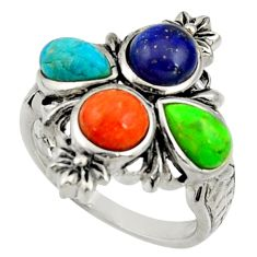 5.93cts multi color copper turquoise lapis lazuli 925 silver ring size 7 c10013