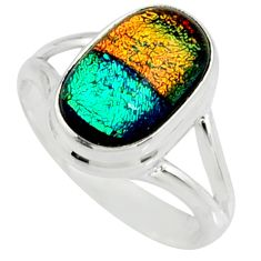 6.03cts multi color dichroic glass 925 silver solitaire ring size 8.5 r22421