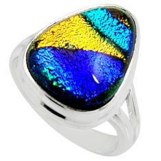 8.83cts multi color dichroic glass 925 silver solitaire ring size 6.5 r22426