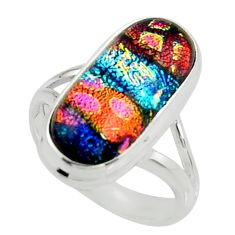 8.76cts multi color dichroic glass 925 silver solitaire ring size 7.5 r22428