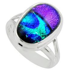 8.83cts multi color dichroic glass 925 silver solitaire ring size 7.5 r22430