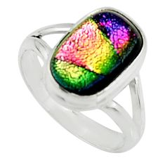 6.03cts multi color dichroic glass 925 silver solitaire ring size 8.5 r22432