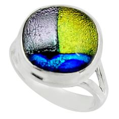 7.22cts multi color dichroic glass 925 silver solitaire ring size 7.5 r22438