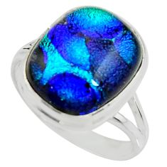 9.44cts multi color dichroic glass 925 silver solitaire ring size 10 r22435
