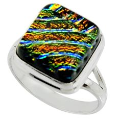 12.24cts multi color dichroic glass 925 silver solitaire ring size 10 r22445