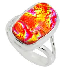 7.83cts multi color dichroic glass 925 silver solitaire ring size 6 r22437