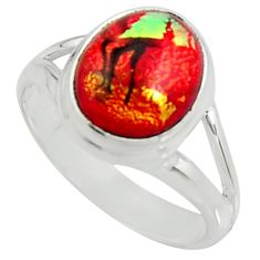 5.09cts multi color dichroic glass 925 silver solitaire ring size 7 r22422