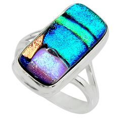 10.33cts multi color dichroic glass 925 silver solitaire ring size 8 r22425