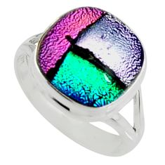 7.83cts multi color dichroic glass 925 silver solitaire ring size 8 r22427