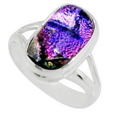 6.58cts multi color dichroic glass 925 silver solitaire ring size 8 r22431