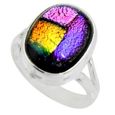 9.39cts multi color dichroic glass 925 silver solitaire ring size 8 r22433