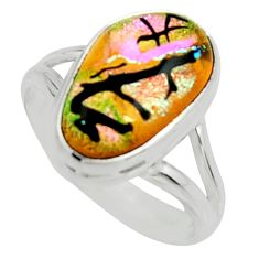 6.83cts multi color dichroic glass 925 silver solitaire ring size 8 r22434