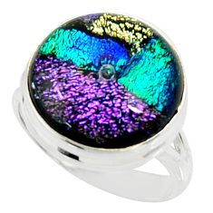 12.64cts multi color dichroic glass 925 silver solitaire ring size 8 r22441
