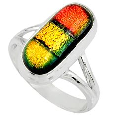 6.62cts multi color dichroic glass 925 silver solitaire ring size 9 r22439