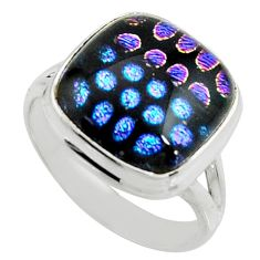10.99cts multi color dichroic glass 925 silver solitaire ring size 9 r22443