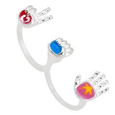 8.26gms multi color enamel 925 silver two finger couple ring size 7.5 c26097