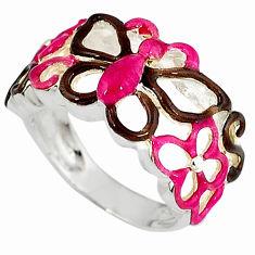 Multi color enamel 925 sterling silver butterfly ring jewelry size 6.5 c16272