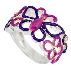 Multi color enamel 925 sterling silver butterfly ring jewelry size 5.5 c16066