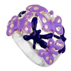 Multi color enamel 925 sterling silver butterfly ring jewelry size 7.5 c16275
