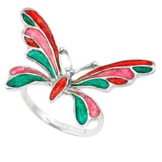 Multi color enamel 925 sterling silver butterfly ring jewelry size 7 c16793