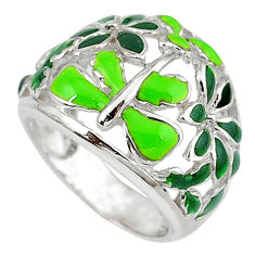 Multi color enamel 925 sterling silver dragonfly ring jewelry size 5.5 c16267