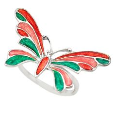 Multi color enamel 925 sterling silver dragonfly ring jewelry size 8 c16799