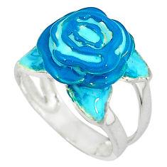 Multi color enamel 925 sterling silver flower ring jewelry size 5.5 c16218