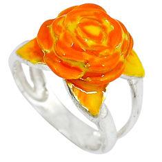 Multi color enamel 925 sterling silver flower ring jewelry size 5.5 c16206