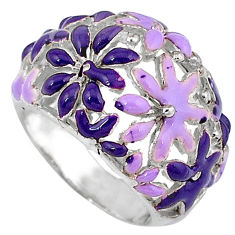 Multi color enamel 925 sterling silver flower ring jewelry size 5.5 c16261