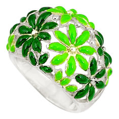 Multi color enamel 925 sterling silver flower ring jewelry size 5.5 c16270