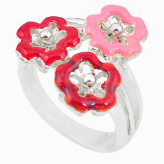 Multi color enamel 925 sterling silver flower ring jewelry size 6.5 c15915