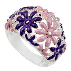 6.89gms multi color enamel 925 sterling silver flower ring size 7.5 c26267