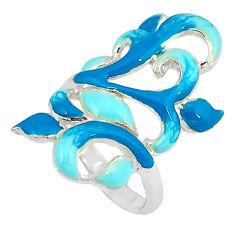 Multi color enamel 925 sterling silver ring jewelry size 6.5 a34736 c16142