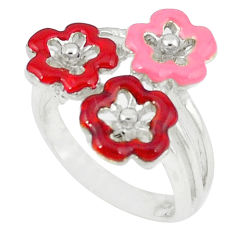 Multi color enamel 925 sterling silver ring jewelry size 8.5 c15908