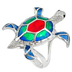 Multi color enamel 925 sterling silver tortoise ring jewelry size 8 c22875