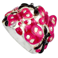 Multi color enamel 925 sterling silver butterfly ring jewelry size 5.5 c16266